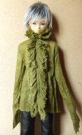 13少年用ガーゼブラウス襟フリル(草)