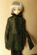 16・17少年/HOUND用ガーゼブラウス襟フリル(モスグリーン)