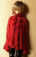 13少年用ガーゼブラウス襟フリル(赤)