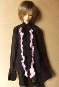 13少年用2色フリルガーゼブラウス(黒/桃)