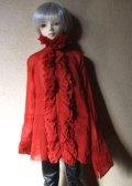 16・17少年/HOUND用ガーゼブラウス襟フリル(赤)