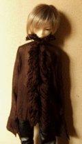 13少年用ガーゼブラウス襟フリル(こげ茶)